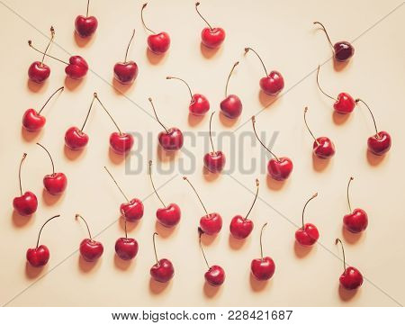 Colourful Bright Pattern With Ripe Cherry. Top View.
