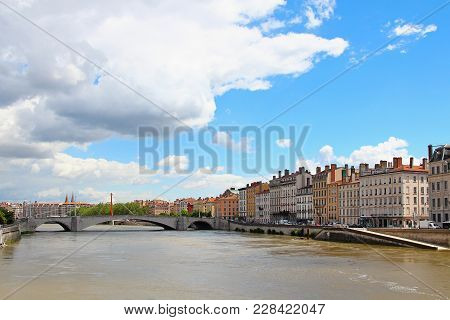 Full-water Saone River In Downtown Lyon, France