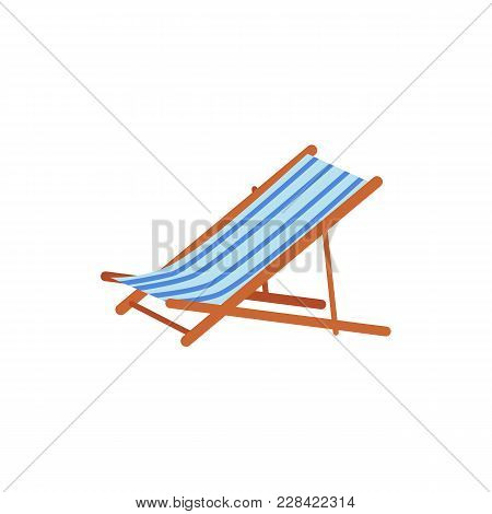 Striped Lounge Chair, Tanning Bed - Summer Beach Vacation Symbol, Flat Cartoon Vector Illustration I