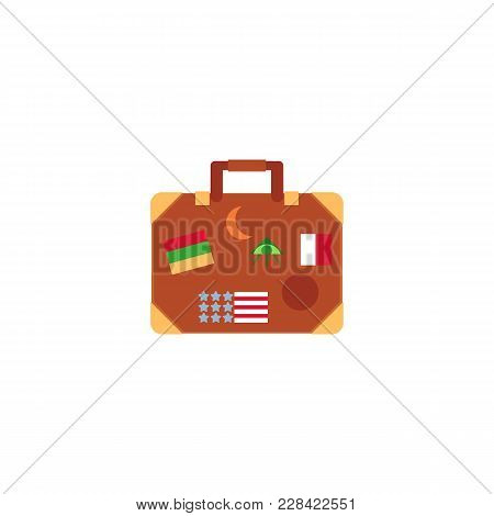 Vintage Travel Suitcase With Metal Corners And Luggage Stickers, Flat Cartoon Vector Illustration Is