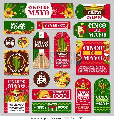 Mexican Cinco De Mayo Holiday Tag And Label Set. Fiesta Party Sombrero Hat, Maracas And Chili Pepper
