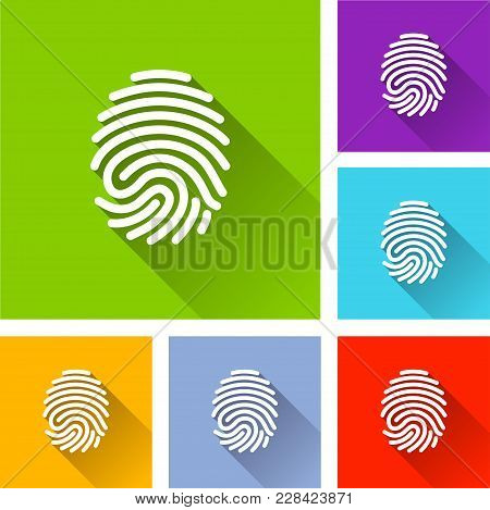 Illustration Of Finger Print Icons With Shadow