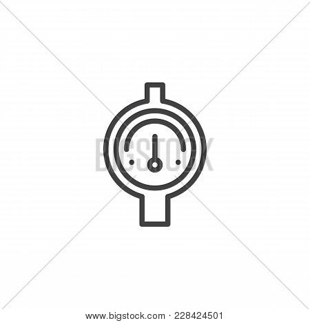 Gauge Outline Icon. Linear Style Sign For Mobile Concept And Web Design. Manometer, Pressure Measure