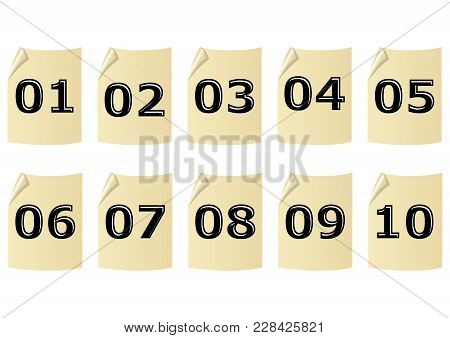 Set Of Artistic Number On Old Yellow Recycled Paper With Rolled Corner. Embossed Black Number With H