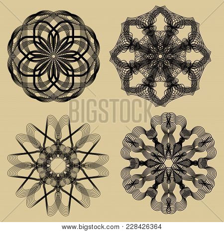 Guilloche Set. Black Filigree Lace Patterns On Beige Background. Fine Geometric Antique Patterns. Ci