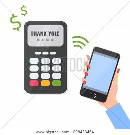 Wireless Method Payment, Nfc Payment Concept. Pos Terminal Confirm The Payment And Hand With Smartph