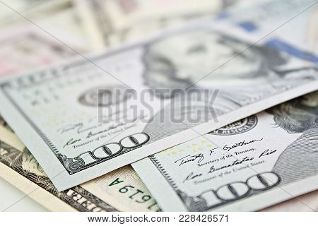 Business, Finance, Investment Or Money Exchange Concept : American Dollars Cash Money On White Backg