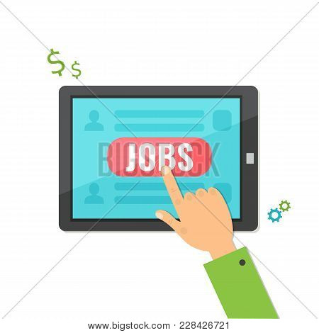 Concept Of Job Searching On Tablet Computer. Vector Illustration.