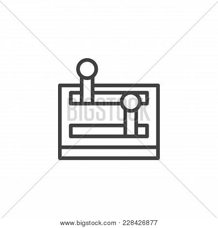Lever Arm Outline Icon. Linear Style Sign For Mobile Concept And Web Design. Control Lever Simple Li