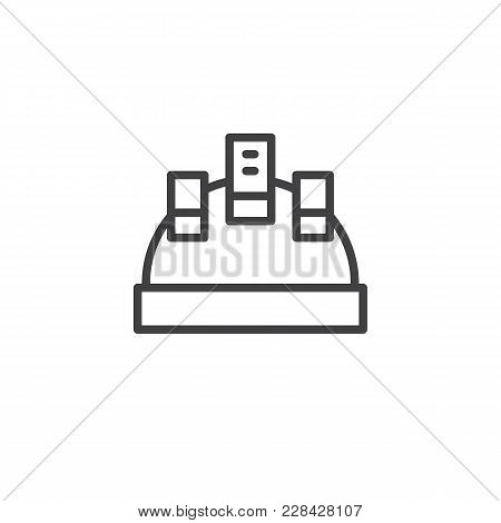 Protective Helmet Outline Icon. Linear Style Sign For Mobile Concept And Web Design. Hard Hat Workwe