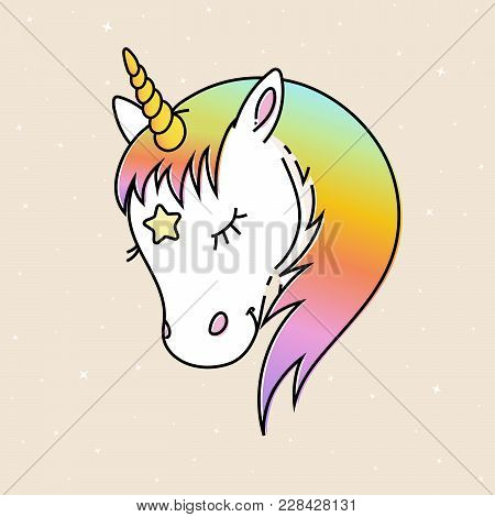 White Unicorn Vector Head With Rainbow Mane And Yellow Horn. Dreaming Unicorn On Starry Background.