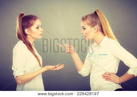 Interpersonal Conflict, Bad Relationships, Friendship Difficulties Concept. Quarrel Between Two Youn