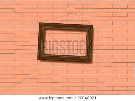 Woden  Frame On Brick Wall