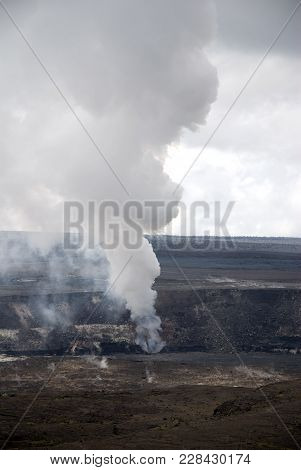 National Park In The Big Island Of Hawaii Volcanic Crater Smoking On , Volcanoes