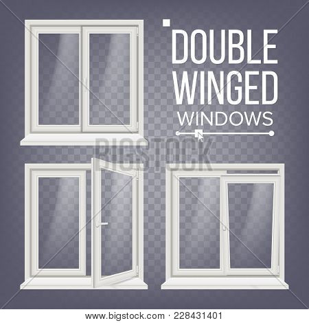 Plastic Pvc Window Vector. Double-winged. Opened And Closed. Front View. Home Window Design Element.