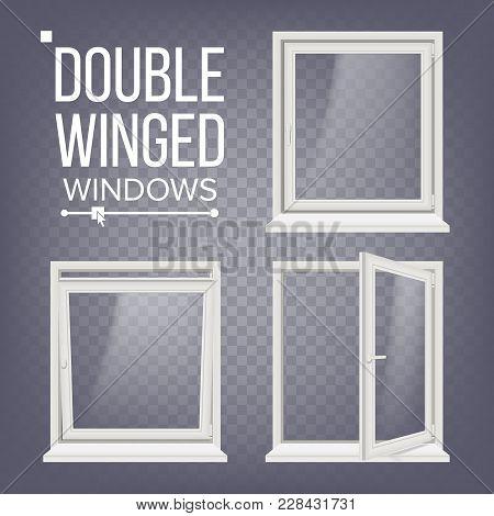 Plastic Window Vector. Double-winged. White. Pvc Windows. Plastic White Window Frame. Isolated On Tr