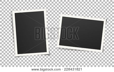 Set Of Vintage Photo Frames Without Adhesive Tape. Scrapbook Design. Vector Illustration Of Picture