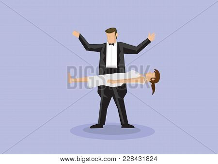 Magician Wearing Black Bow Tie And Tuxedo Performing Magic Tricks Making A Woman Float In Mid Air. V