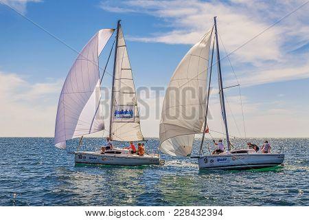 Sochi, Russia - May 21, 2016: Sailing Regatta In The Open Sea.
