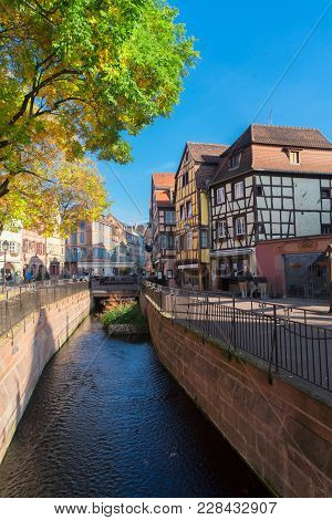 Water Canal Of Colmar, Most Famous Old Town Of Alsace, France