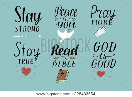 Set Of 6 Hand Lettering Christian Quotes Stay Strong Peace To You Pray More Read The Bible God Is Good Biblical Background Poster Modern Calligraphy