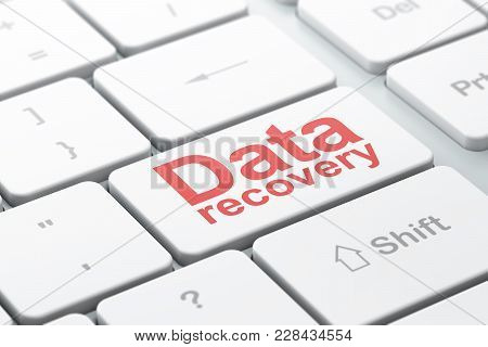 Information Concept: Computer Keyboard With Word Data Recovery, Selected Focus On Enter Button Backg