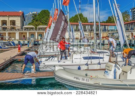 Sochi, Russia - May 21, 2016: Yachtsmen On The Pier.
