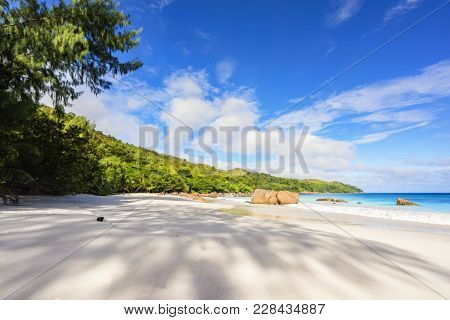 Paradise Beach.white Sand,turquoise Water,palm Trees At Tropical Beach,seychelles 34