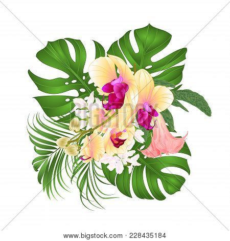Bouquet With Tropical Flowers  Floral Arrangement, With Beautiful Yellow Orchid, Palm,philodendron A