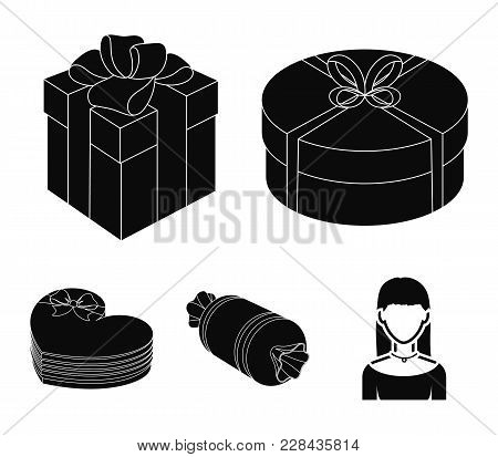 Gift Box With Bow, Gift Bag.gifts And Certificates Set Collection Icons In Black Style Vector Symbol