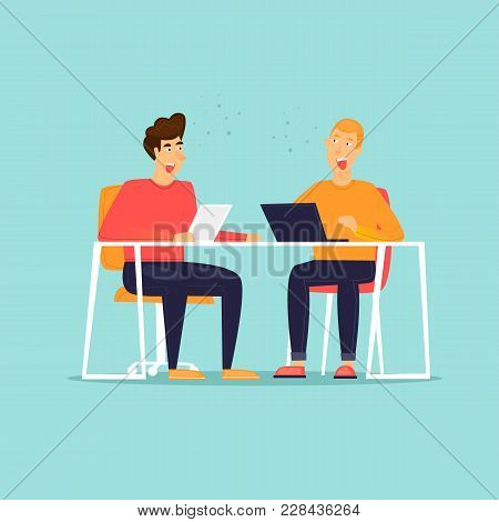 Business Characters. Co Working People, Meeting, Teamwork, Collaboration And Discussion, Conference