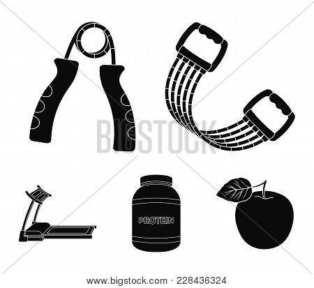Protein, Expander And Other Equipment For Training.gym And Workout Set Collection Icons In Black Sty