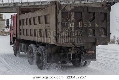 Kazakhstan, Ust-kamenogorsk, February 23, 2018: Truck Shakman Carries Cargo. Chinese Truck