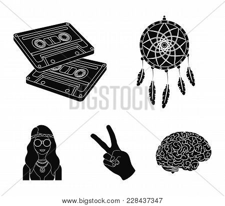 Amulet, Hippie Girl, Freedom Sign, Old Cassette.hippy Set Collection Icons In Black Style Vector Sym