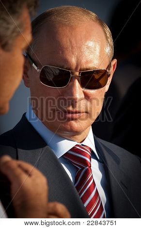 MOSCOW, RUSSIA, AUGUST,17: Vladimir Putin, Russian Prime Minister  at the International Aviation and Space salon MAKS. August,17, 2011 at Zhukovsky, Russia