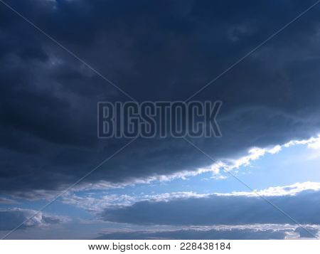Sky Background. Natural Landscape Of Cloudy Stormy Sky With Dramatic Clouds. Stormy Sky Background.