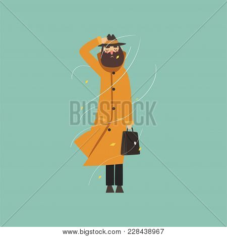 Bearded Man In Warm Orange Overcoat And Hat On A Very Windy Day Outdoors Vector Illustration, Flat S