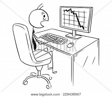 Cartoon Stick Man Drawing Conceptual Illustration Of Businessman Working On Computer And Chocked By