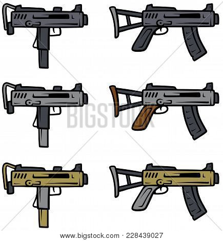 Cartoon Submachine Guns Isolated On White Background. Vector Weapons Firearms Icons.