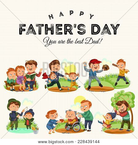 Set Happy Fathers Day Greeting Card, Dad Fun With Kids, Parent Of Little Childrens Family Vacation,
