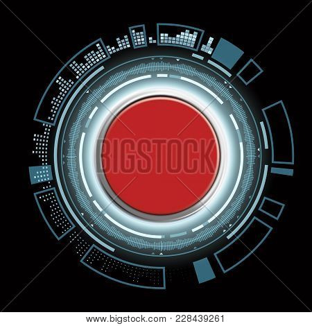 Red Futuristic Switch Button. Technological Toggle With Hud Interface. Stock Vector Illustration.