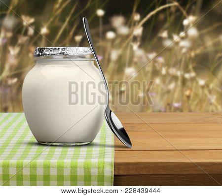 Fresh Spoon Yogurt Greek Yoghurt White Background Glass