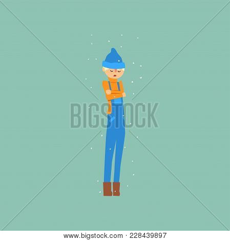Boy In Blue Overalls And A Hat Freezing And Shivering On Winter Cold Vector Illustration, Flat Style