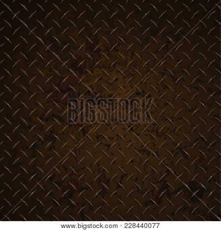 Diamond Plate Rusty Distressed Corroded Realistic Vector Graphic Illustration