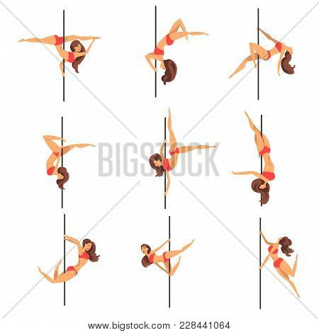 Young Pole Dance Women Set, Beautiful Pole Dancers Showing Some Tricks Vector Illustrations Isolated