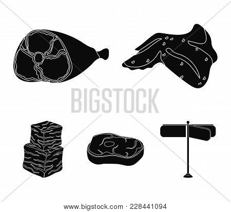 Chicken Wings, Ham, Raw Steak, Beef Cubes. Meat Set Collection Icons In Black Style Vector Symbol St