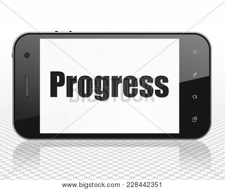 Finance Concept: Smartphone With Black Text Progress On Display, 3d Rendering