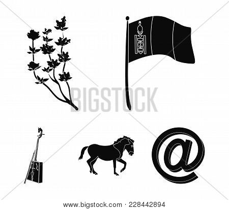 National Flag, Horse, Musical Instrument, Steppe Plant. Mongolia Set Collection Icons In Black Style