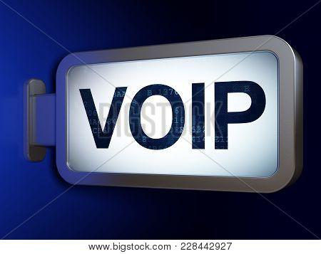 Web Development Concept: Voip On Advertising Billboard Background, 3d Rendering