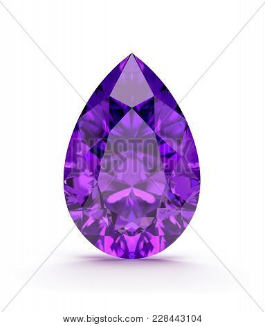 Amethyst Beautiful Precious Stone. 3d Image. White Background.